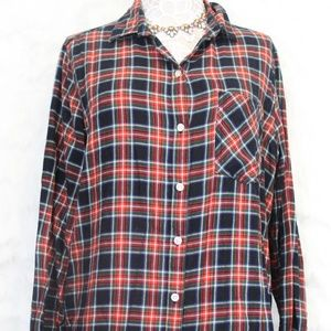 Red White & Blue Flannel Button Down Shirt
